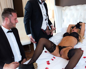 It's wedding night and naked girl wants to try threesome with newest husband