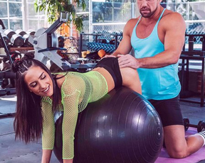 Busty Latina chick seduces muscular coach to have naked sex in empty gym
