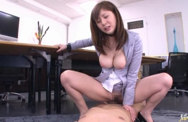 Japanese secretary rides naked cock of boss without taking off clothes