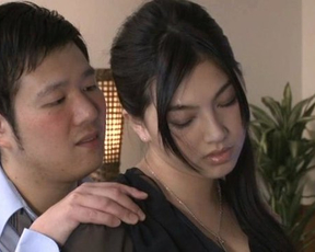 Shoulder massage turns Japanese girl on and man fucks naked pussy from behind