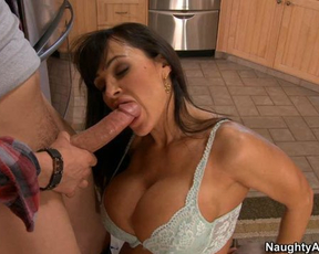 Mind-boggling MILF with huge naked tits practices sex in the kitchen