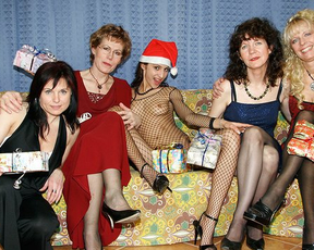 Christmas party unexpectedly turns into naked lesbian lovemaking