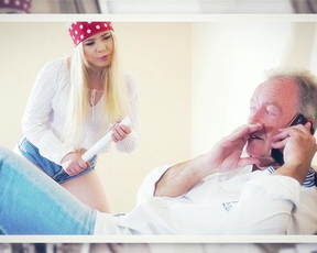 Old man interrupts phone conversation to satisfy naked blonde chick