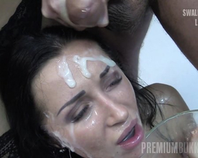Men are ready to make naked babe suck them all and give her bukkake