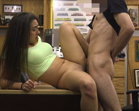 Guy invited naked Latina love to office not in vain cause he banged her