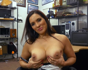 Latina MILF with big naked tits fucked by pawn shop owner on table