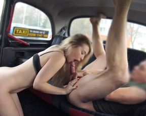 Naked love with flat figure moans while taxi driver is sneaking into her