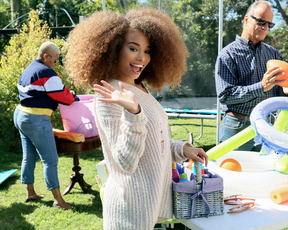 I noticed that this ebony teen isn't just selling her possessions at this yard sale