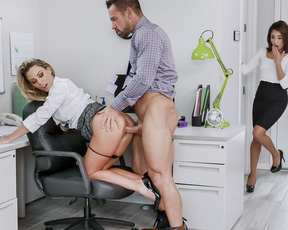 Boss gets to fuck not one, but two incredibly gorgeous secretaries while in the office