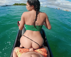 Busty Latina girl gives me a jetski fuck session and surprises me with an island getaway