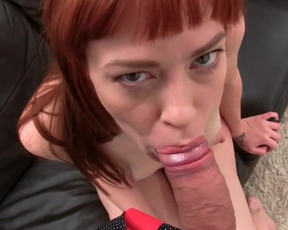 Wild scoring of naked slut with fire red hair and porn agent in office