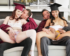 Teens seduce and fuck each other's stepdad in a steamy foursome after graduation
