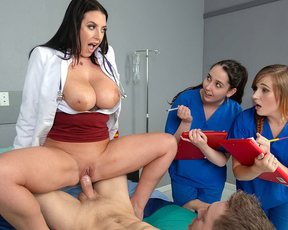 Doctor takes care about patient's monstrous erection with the students watching and taking notes