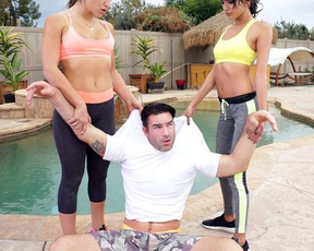 Fitness babes catch man peeping on them and want naked sex apologу