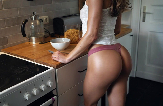 Fit babe with tight fat ass is dominated by her man as her pussy is destroyed in the kitchen