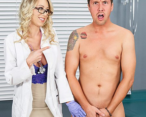 Blonde doctor with ease lures naked stepson into spontaneous lovemaking