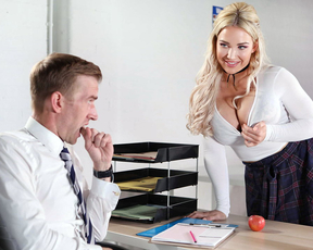 Professor cancels the test when a hot student seduces him into fucking her tight pussy
