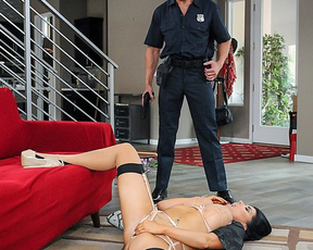 Police officer forces naked housewife to gag on his boner like whore