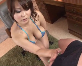 Chesty Japanese goddess relaxes naked man with well-done cock sucking