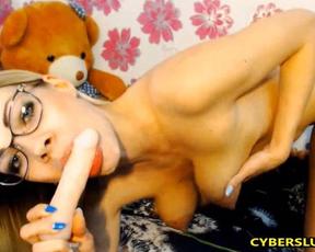 Nerdy blonde earns money satisfying naked twat in webcam videos
