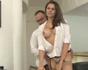 Man and naked girlfriend have great twosome fucking right in the office