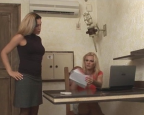 Naked blonde office girls turn out to be shemales demonstrating bodies and fucking