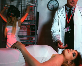 Naked sex machine helps gentleman fuck blonde and brunette slaves