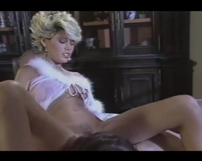 Vintage naked girl lies on table making man lick and penetrate twat