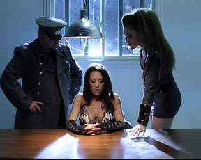 Lesbian officer serves naked detainee's pussy to learn her secrets