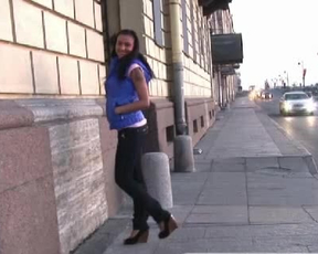 Busty brunette in sexy jeans analyzed by naked fellow in nice poses
