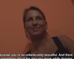In club lucky fellow and slutty blonde have awesome naked encounter