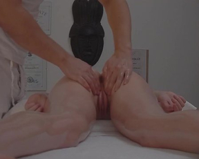 Massage from rubber motivates naked client to have sex in great poses
