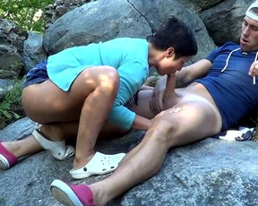 insistent guy finally coaxes naked chubby girlfriend to try anal sex