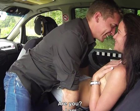 Czech taxi driver jumps in backseat for quick affair with naked cutie