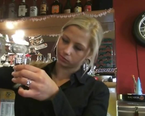 Insistent guy in exchange for cash coaxes barmaid to suck naked boner