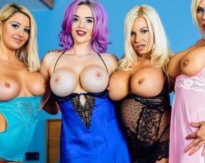 Three naked bombshells arrange in bedroom unforgettable lesbian party