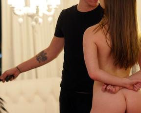 Skillful guy analyzes petite naked sexpot with his massive manhood