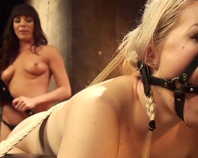 Naked blonde punished by imperious partner in her special basement