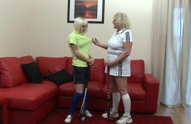 Mature Euro woman nicely spanks on sofa obedient naked blonde MILF