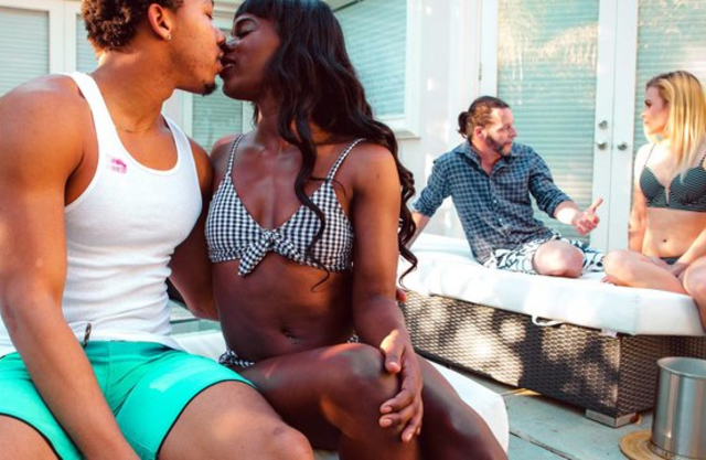 Beautiful Ebony girl gets naked after gives black guy blowjob and fucked