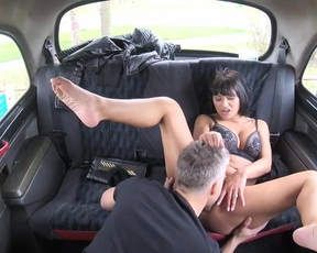 Hot brunette MILF licked and fucked naked by taxi driver in the cab