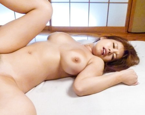 Japanese beauty with bushy pussy and nice tits lays and fucks naked