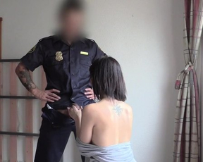 Officer visits naked MILF and fucks her after short talk and blowjob