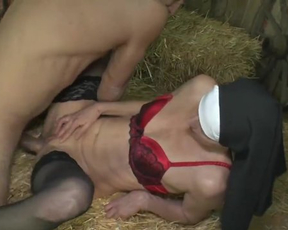 Slutty nun in stocking and red bra nailed into naked cunt in the barn