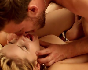 Hot naked couple makes passionate love that ends with cum on belly