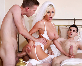 Horny bride gets drilled by her husband and pervy B&B owner celebrating their honey moon