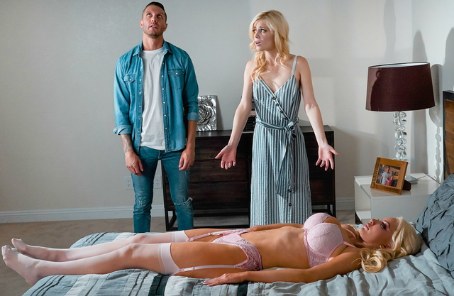 Blonde life-size sex doll with massive tits comes to life to fuck with her owners