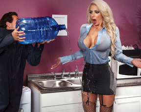 Adorable blonde with massive titties gets her titties soaking wet by the bumbling custodian