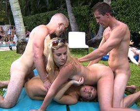 Hot college coeds fucked in a backyard orgy