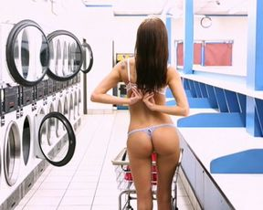 Naked girl enjoys hot casual sex in the laundry room